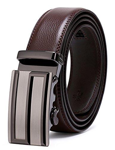 Ratchet Sliding - ITIEZY Ratchet Men Belt Sliding Automatic Buckle Leather Dress Belt Brown Strap 35mm width