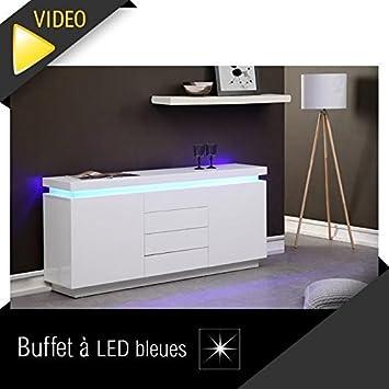 MCD Flash Buffet 175cm Blanc laqué avec LED Bleue