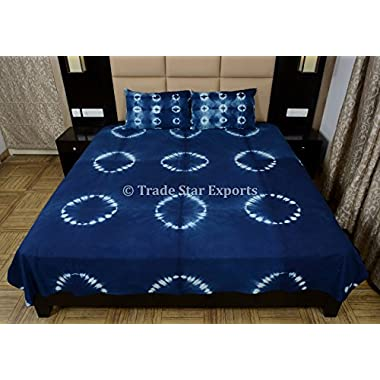 Tie Dye Bedding Set, Handmade Bedspread With Shams, Indigo Dyed Cotton Bed Cover, Shibori Indian Queen Size Bed Sheet
