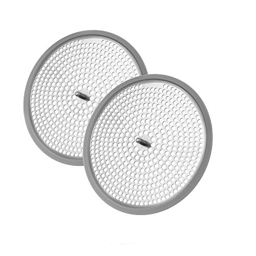 AmazerBath Shower Drain Hair Catcher with Fixed Screw, Stainless Steel Shower Drain Cover Strainer Hair Drain Protector for Bathroom Shower Stall - 2 Pack