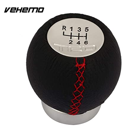 5 Speed Leather Aluminum Manual Car Gear Shift Knob Shifter Lever Black/&Red Line