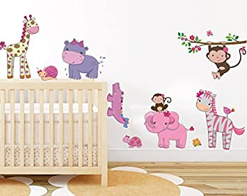 Lovely Pink Girly Animals Wall Sticker Baby Girl Room Jungle Wall Art Decor  Removable Nursery Wall Decal