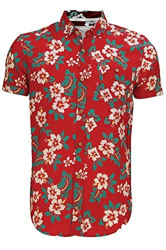 Soulstar Hombre Tiki 3 Camisa De Algodón Estampado Floral En Todas Partes Cuello Abotonado Top Rojo
