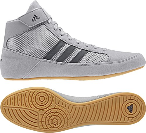 Adidas Men's Boy's HVC2 Wrestling Mat Shoe Ankle Strap (Light Gray/Onyx, 8.5)