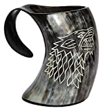 Humaira Nauticals Vikings Valhalla's Game of Thrones Stark House Viking Drinking Horn Mug Wolf Carved tankard for Beer Wine Mead ale