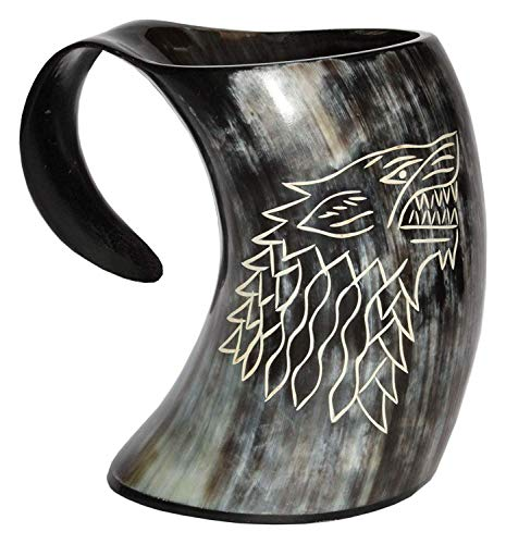 (Humaira Nauticals Vikings Valhalla's Game of Thrones Stark House Viking Drinking Horn Mug Wolf Carved tankard for Beer Wine Mead ale)
