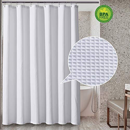 (Sunlovo White Waffle Shower Curtain,Water-Proof Diamond Weave Bathroom Curtain with Rust-Proof Metal Grommets Top for Bathroom,72