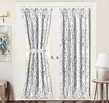 Tree Branch Door Curtain Sidelight Curtain Thermal Rod Pocket Room Darkening Privacy Front Door Panel Single Curtain with Bonus Adjustable Tieback 52 Inch by 72 Inch Gray
