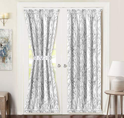 (DriftAway Tree Branch Door Curtain Sidelight Curtain Thermal Rod Pocket Room Darkening Privacy Front Door Panel Single Curtain with Bonus Adjustable Tieback 52 Inch by 72 Inch Gray)