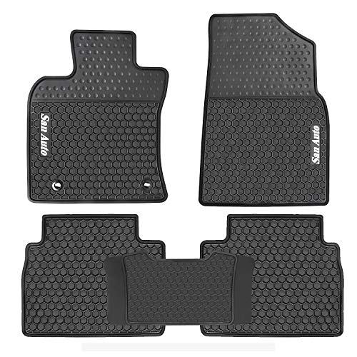 HD-Mart Car Floor Mats Custom Fit for Toyota Camry 8th 2018 2019 Rubber Black White Car Floor Liners Set All Weather Season Heavy Duty Odorless