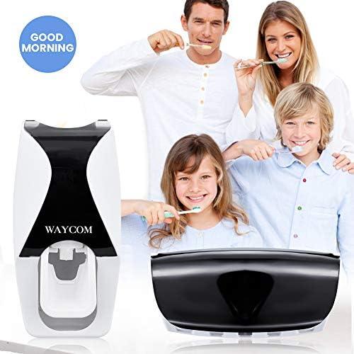 WAYCOM Dust-Proof Toothpaste Dispenser Toothpaste Squeezer Kit (Black)