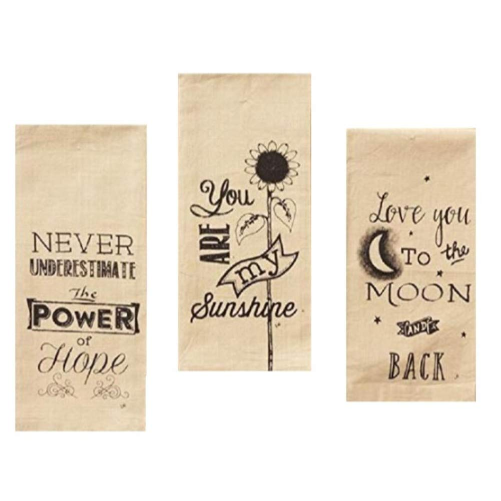 Country Primitive Inspirational Quote Printed Low Lint Cotton Everyday Dishtowel Set of 3 Tea Towels