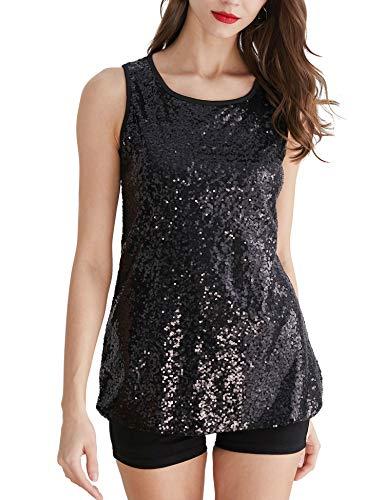 (Uhapy Women's Plus Glitter Sequin Tank Top Sparkle Shimmer Camisole Vest T-Shirt S-5XL Black)