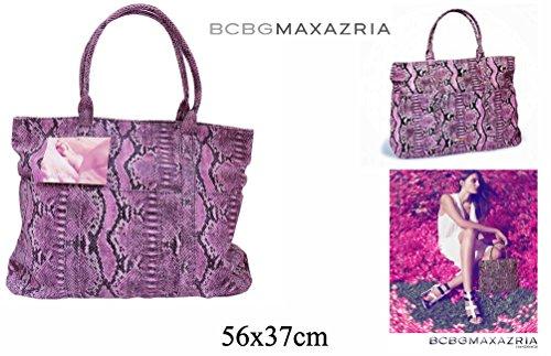 Donna Lilla e Rosa Faux Snakeskin Grande Borsa A Tracolla dal design BCBGMAXAZRIA
