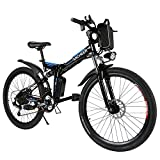 ANCHEER Folding Electric Mountain Bike with 26″ Super Lightweight Magnesium Alloy 6 Spokes Integrated Wheel, Large Capacity Lithium-Ion Battery (36V 250W), and Shimano Gear (Black Frame)