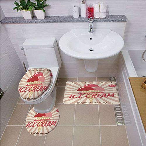 Bath mat Set Round-Shaped Toilet Mat Area Rug Toilet Lid Covers 3PCS,Ice Cream Decor,Vintage Sign with Homemade Ice Cream Best in Town Quote Print Decorative,Red Coral Cream Tan,Bath mat Set Round-Sh
