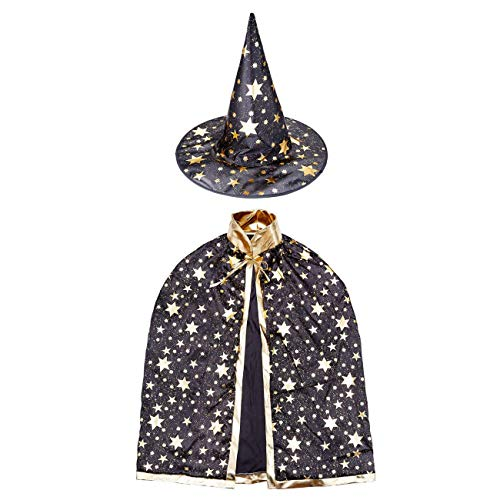 Children's Halloween Witch Costume Cloak Set, Unisex and Star Printed Hood/Hat for Boys Girls Cosplay (Black) ()