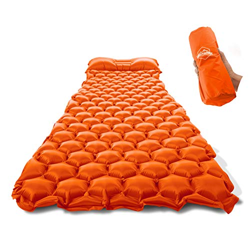 ZOOOBELIVES Ultralight Sleeping Pad with Pillow– Inflatable Camping Mat for Backpacking, Traveling and Hiking, Compact and Portable Multiple Color Options ()