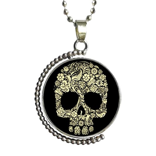 Halloween skeleton clip art Glass Cabochon Rotatable Lucky Pendant Necklace (Clipart Halloween Skeleton)