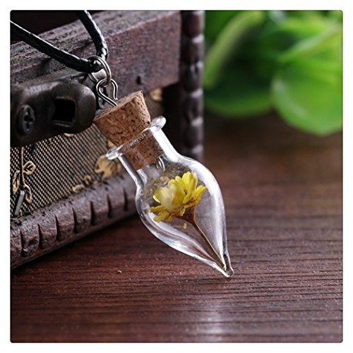 Original female ornaments handmade DIY delicate little daisy dried flowers natural glass necklace yellow dried flowers necklace retro sweater chain