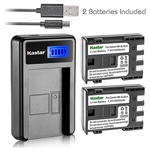 Kastar Battery (X2) & LCD Slim USB Charger for Canon NB-2L NB-2LH NB-2L12 NB-2L14 NB-2L24 BP-2L5 BP-2LH and Canon EOS Digital Rebel XT Xti Cameras by Kastar