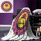 smallbeefly Lotus Flower Digital Printing Blanket Circular Mandala Inspired Motif a Pink Blossom Spiritual Meditation Boho Summer Quilt Comforter 80''x60'' Multicolor