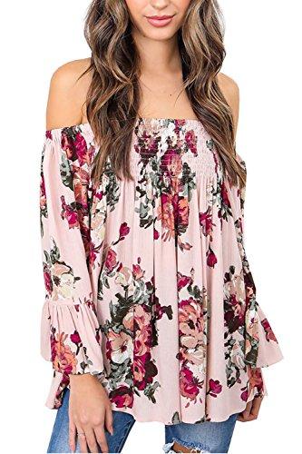 (BB&KK Womens Floral Off Shoulder Blouse Casual Shirt Bell Sleeves Cute Crop Top Medium Pink)