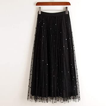 DAHDXD Reversible Falda de Terciopelo de Tul Mujer Moda Primavera ...