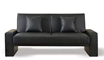 Supra Sofa Bed Black Faux Leather