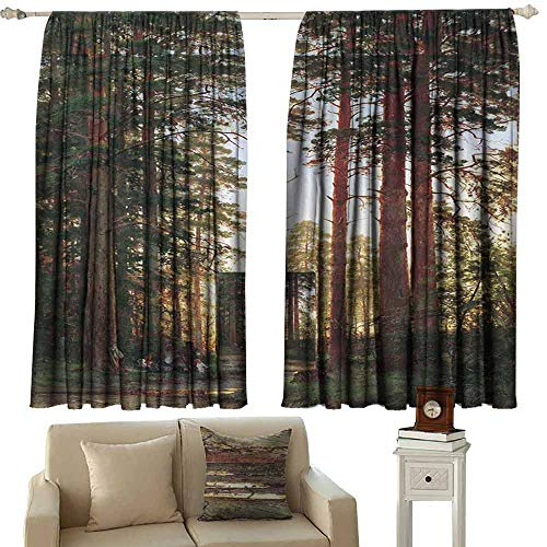 Mannwarehouse Customized Curtains Forest Road Landscape Avenue of Trees in The Park Misty Autumn Forest Home Garden Bedroom Outdoor Indoor Wall Decorations 63