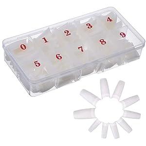 AORAEM 500pcs Lady French Acrylic Style Artificial False Nails Half Tips & Box (Natural)
