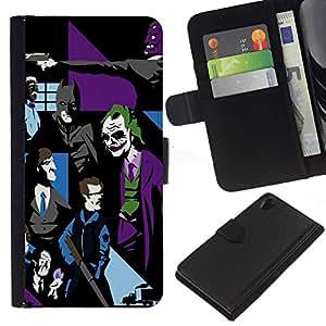 All Phone Most Case / Oferta Especial Cáscara Funda de cuero Monedero Cubierta de proteccion Caso / Wallet Case for Sony Xperia Z2 D6502 // Joker Bat Pop Art G0Tham