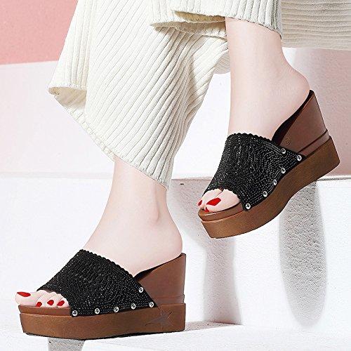 HUAIHAIZ Tacones de mujer Sandalias espesor de tacón de moda zapatillas comunitaria y la fría noche zapatos Black