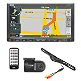 Pyle PLDNVR708 GPS Car Stereo and Dual Camera Kit Includes Touchscreen Headunit Back Up Camera and Dash Cam