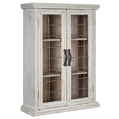 American Art Decor Rustic Shabby Chic Whitewashed Wood and Metal Hanging Storage Cabinet with Shelves - Farmhouse Decor (Chic Furniture)