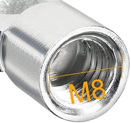 Gas Spring End Fitting M8 Female thread 8mm Hole diameter A3 Steel Silver Tone 2pcs
