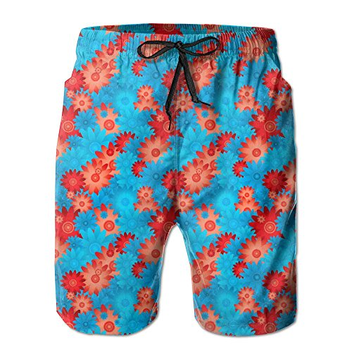 Top FwdgvzxvgLF78 Hot Red and Blue Flowers Summer Surf Men's Beach Swim Shorts free shipping