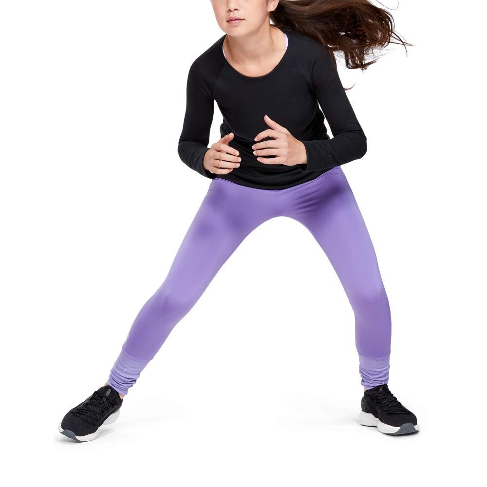 Under Armour Girls' Coldgear Legging, Flight Purple//Purple Crest, Youth X-Large by Under Armour