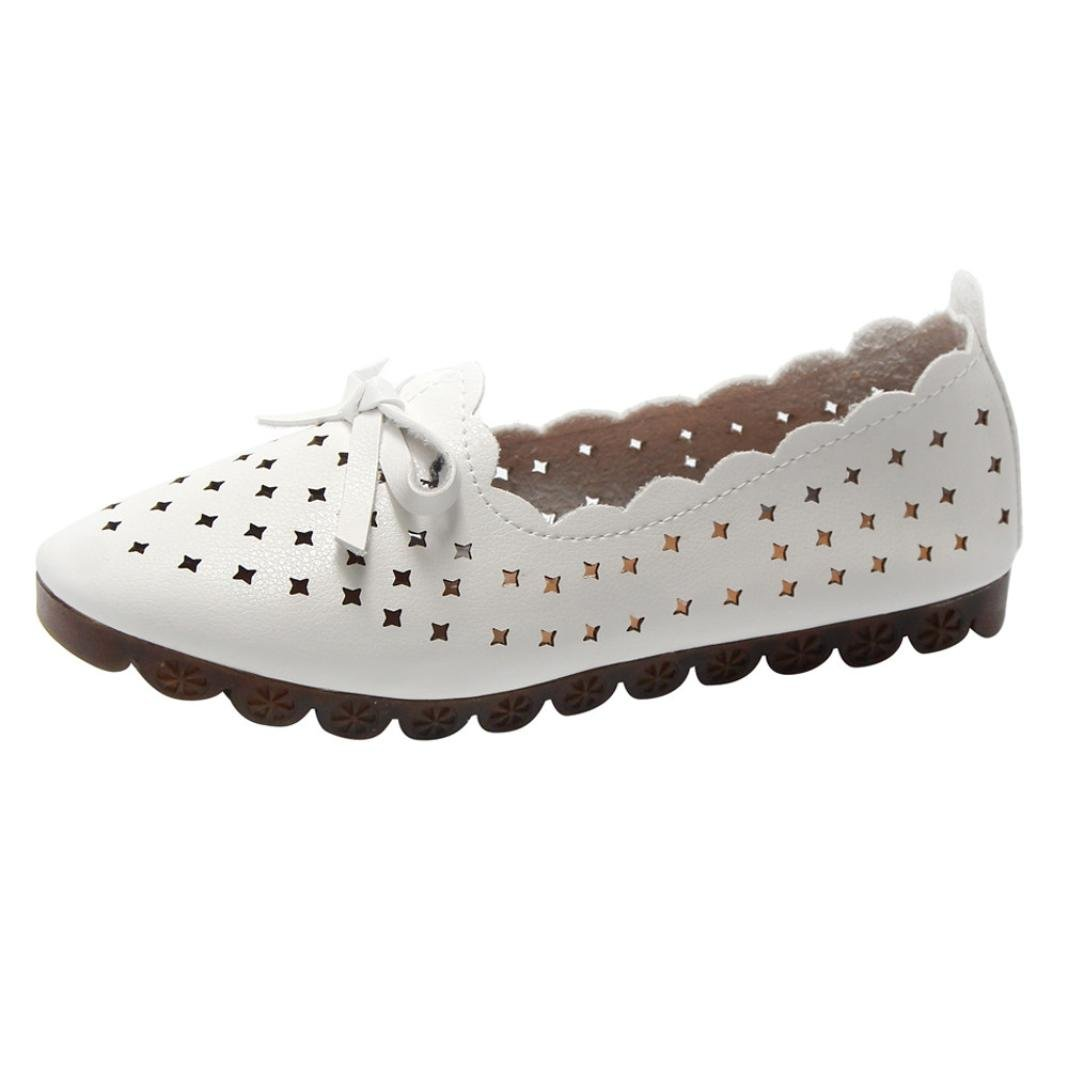 Fheaven (TM)) Women Sweet Bowknot Ballet Hollow Flat Loafers Soft Soled Outdoor Leisure Single Shoes Slip On Boat Shoes (US:7, White)