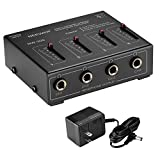 Neewer Compact 4-Channel Stereo Headphone Amplifier with DC 12V Adapter for Sound Reinforcement, Studio, Choir and Personal Recording