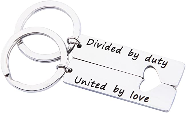 MAOFAED Military Matching Set Divided by Duty United by Love Heart Keychains Military Wife Girlfriend Deployment Going Away Gift