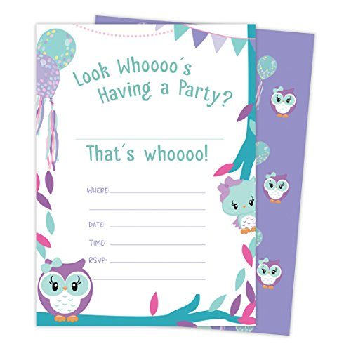 Owl Happy Birthday Invitations Invite Cards (25 Count) with Envelopes & Seal Stickers Boys Girls Kids Party (25ct)