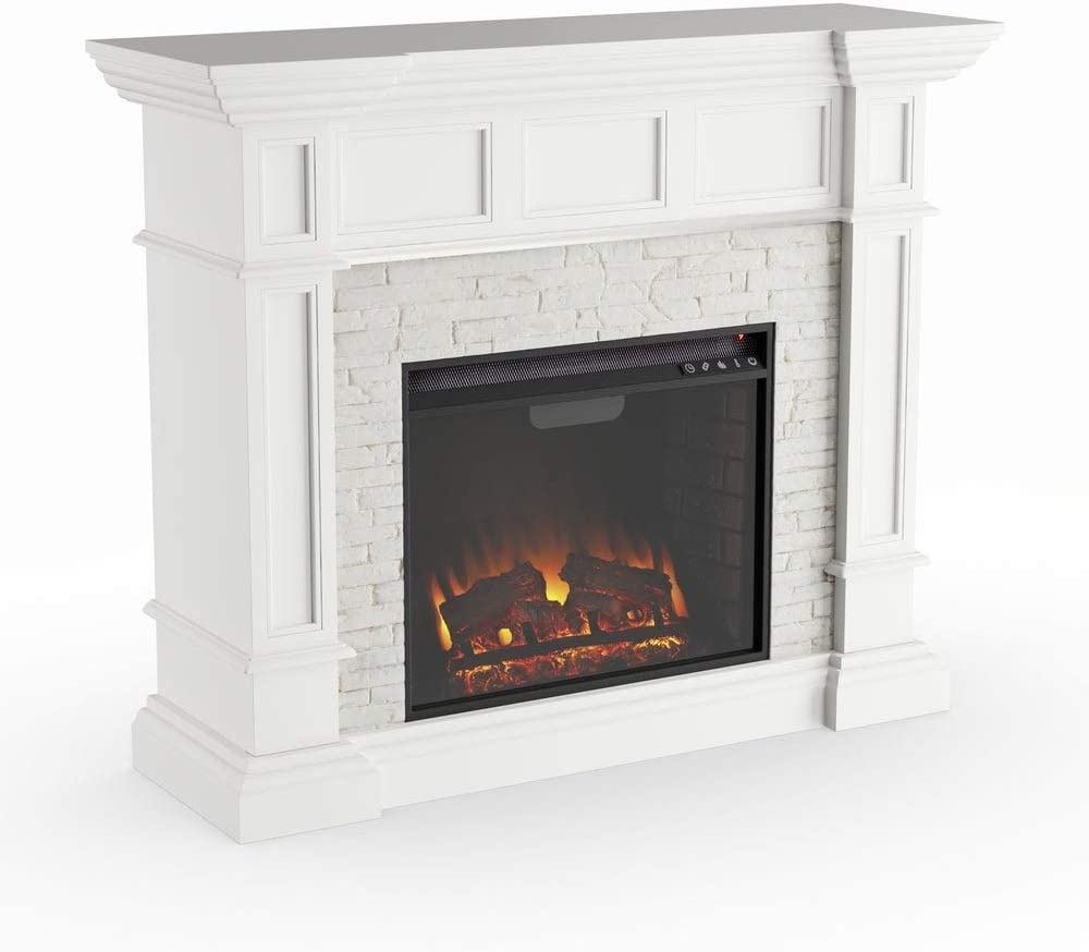 Modhaus Living Modern Transitional White Faux Stone Corner Convertible Electric Fireplace With Brick Like Accents Includes Pen Home Kitchen