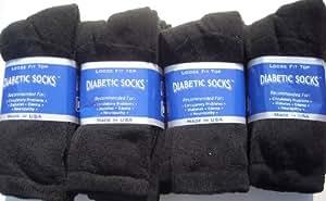 Diabetic CREW Socks MEN XL, sock size 13-15, 1 dozen Pairs Black