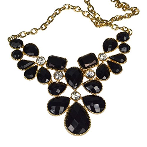 Real Spark(TM) Women Black Gemstone Drops Cluster Elegant Statement Choker Bubble Necklace Stud Earrings Set