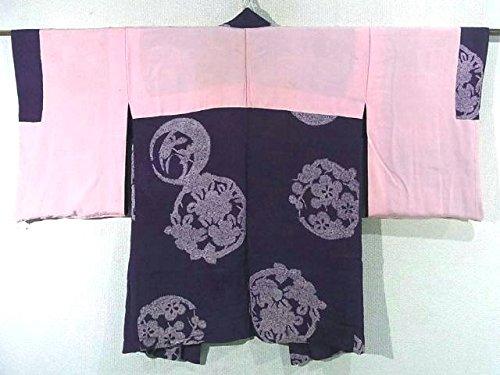 アンティーク 羽織 正絹 花丸文 63裄cm 身丈83cm
