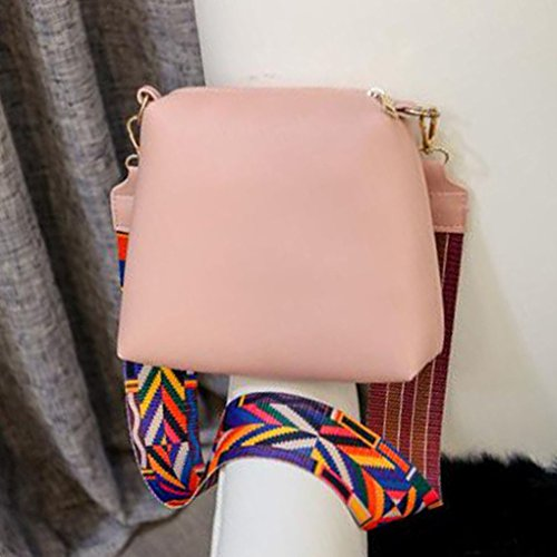 Color Leather Set Girls Pouch Handle Shoulder Messenger Pu Women Single With Pink Metal Bag Strap Wallet Composite Mengonee Purse wq78xI