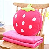 HOMEE Cartoon Fruit Pillow Quilt Dual-Use Coral Blanket Office Automobile Air-Conditioning Cushion the Bed Sleeping Pillow Back,Sweet Heart Strawberries,35