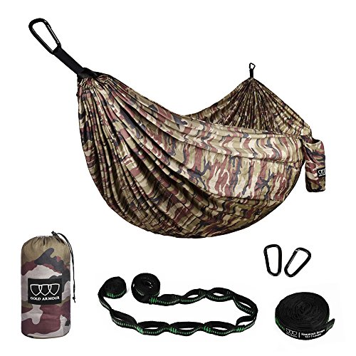 (Gold Armour Camping Hammock - XL Double Parachute Camping Hammock (2 Tree Straps 16 LOOPS/10 FT Included) Lightweight Nylon Portable Hammock, Best Parachute Double Hammock (Camouflage II))