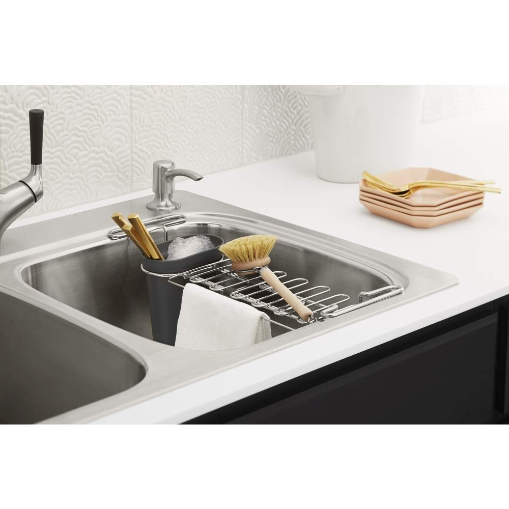 All-in-One Dual-Mount Double Bowl Kitchen Sink Kit with Faucet and Accessories Kohler R75791-2PC-NA All-in Brushed Stainless